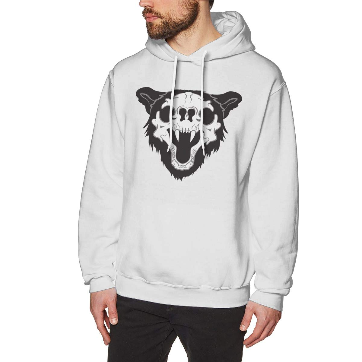 Mans Casual Pure Color Hooded Long-Sleeve Drawstring The Skull of A Bear Hoodie