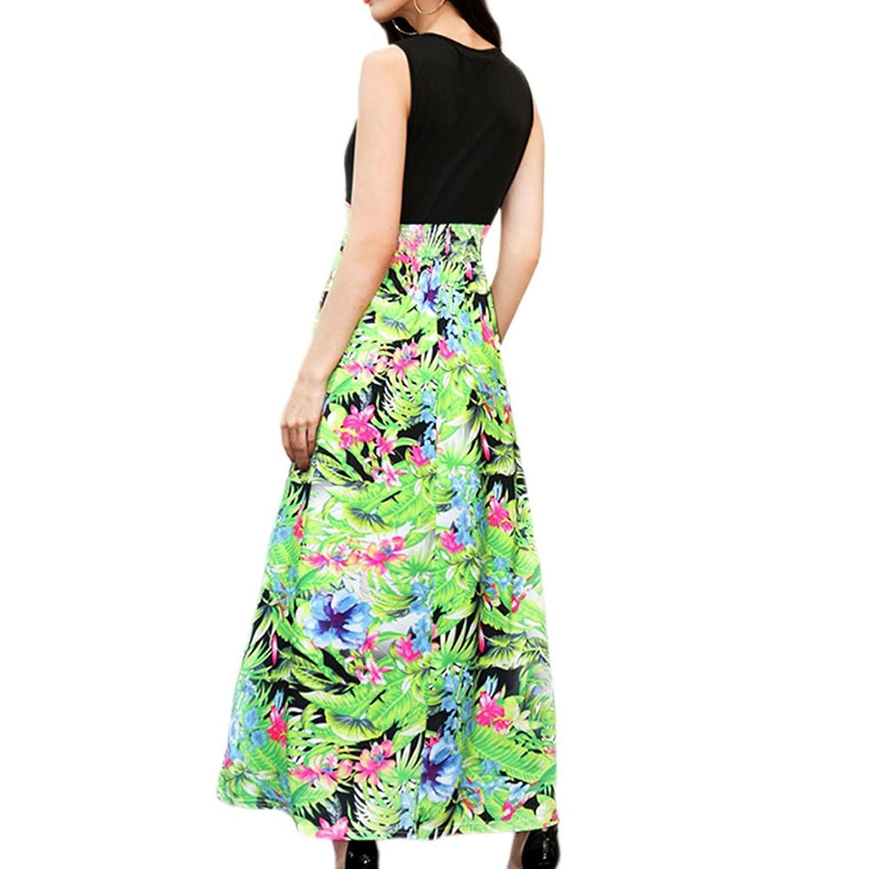Zhuhaixmy Damen Ärmellos V-Ausschnitt Maxi Kleid Stitching Hohe Taille  Blumen Drucken Langer Rock: Amazon.de: Bekleidung