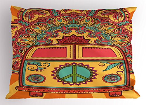 (Ambesonne 70s Party Decorations Pillow Sham, Hippie Vintage Mini Van Ornamental Backdrop Peace Sign, Decorative Standard Queen Size Printed Pillowcase, 30 X 20 Inches, Coral Orange Turquoise)