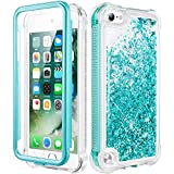 Caka iPod Touch 5 6 7 Case, iPod Touch Case 5th 6th 7th Generation for Girls Glitter Full Body Case with Screen Protector Bling Floating Liquid Cute Case for iPod Touch 5 6 7 (Teal)