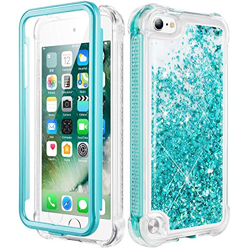 Caka iPod Touch 5 6 7 Case, iPod Touch Case 5th 6th 7th Generation for Girls Glitter Full Body Case with Screen Protector Bling Floating Liquid Cute Case for iPod Touch 5 6 7 (Teal) (Ipod 5th Cases)