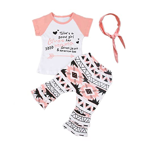 cddcef59e10b9 Baby Girl Kids Colorful Clothes T-Shirt Tops+Bohemian Pants+Headband Outfit  Set