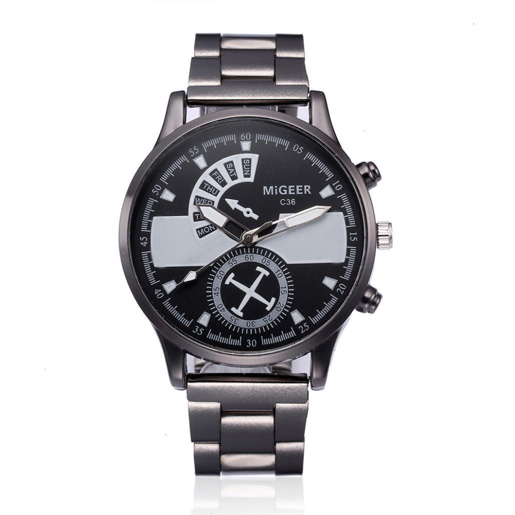 Mens Wrist Watch, Auwer Fashion Crystal Stainless Steel Analog Quartz Watch Bracelet Simple Clock (White)