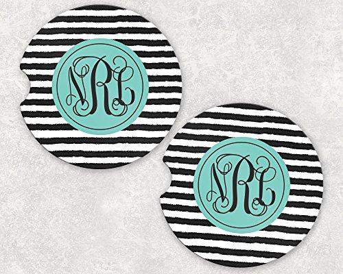 Monogrammed Car Coasters - Absorbent Sandstone - Black and White Stripes (SET of 2)