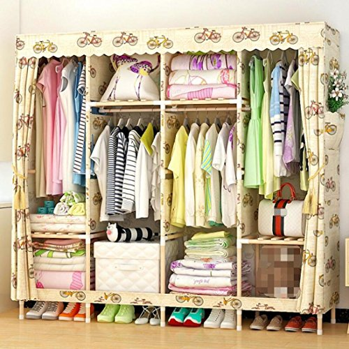 GL&G Portable Clothes Closet Non-woven Fabric Wardrobe Double Rod Storage Organizer Bedroom Oxford cloth reinforcement solid wood Clothing Storage Foldable Closets,E,66''67'' by GAOLIGUO