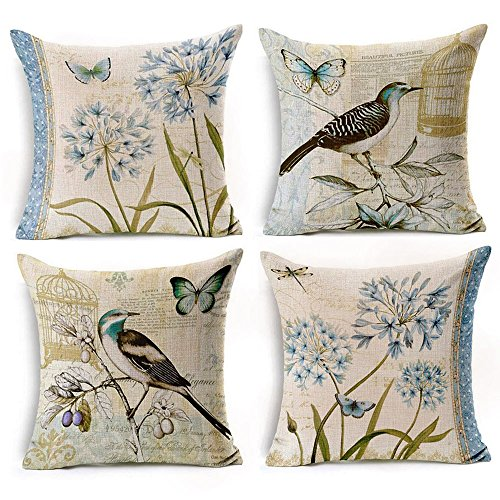 "WOMHOPE 4 Pcs - 17"" Bird and Blue Flower Accent Countryside"