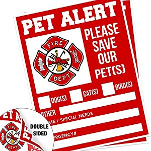 "Pet Alert Fire Rescue Sticker - 5""x 4"" Double Sided (2 Pack) - Save Our Pets Emergency Pets Inside Decal - Danger Pet In House - Protect Dogs Cats Birds - Apply Either Outside or Inside Facing Out."