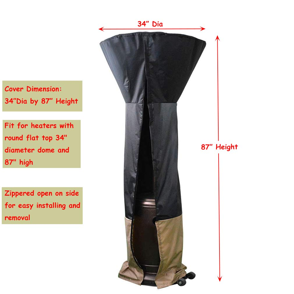 34 D x 87 H ProHome Direct Outdoor Round Patio Heater Cover Fits for Stand Up Round Dome Heaters Weather Resistant Material