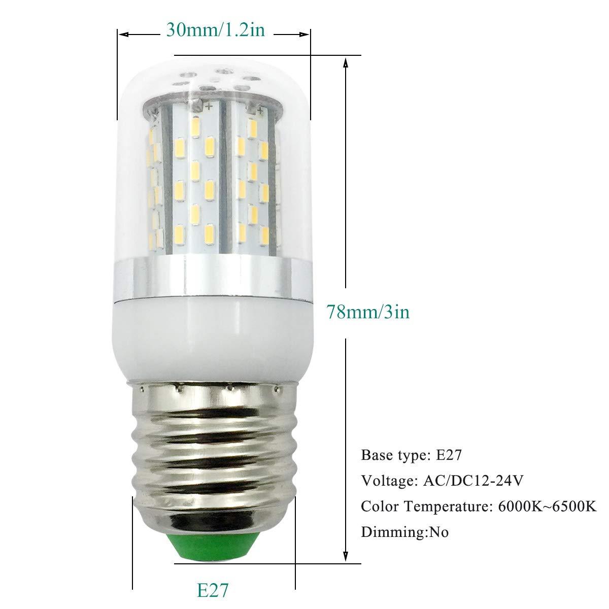 E26 E27 LED Bulb 12V - 24V Low Voltage 5W Candelabra Bulbs (35W Halogen  Bulb) -White 6000K Great for Off Grid Solar Lighting Marine Boat RV  Interior