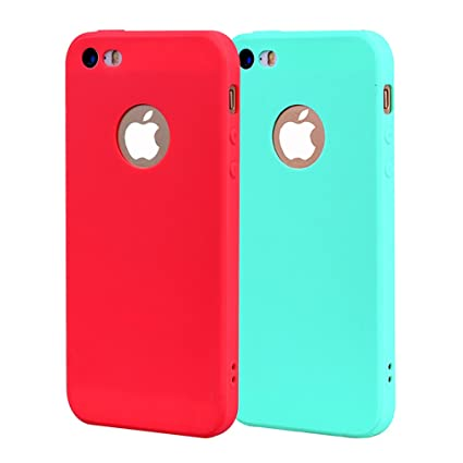 Funda iPhone 5, Carcasa iPhone 5S Silicona Gel, OUJD Mate Case Ultra Delgado TPU Goma Flexible Cover para iPhone 5/SE - Cielo azul + rojo