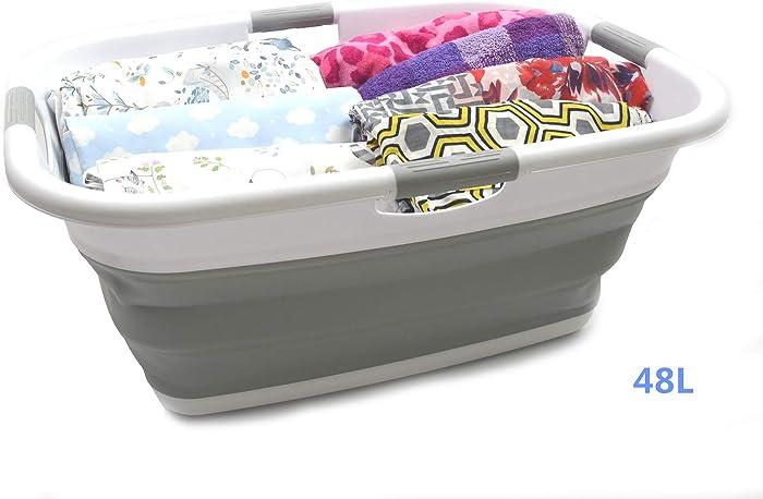 SAMMART Collapsible 4 Handled Laundry Basket - Foldable Storage Container/Organizer - Portable Washing Bin - Space Saving Hamper - Pet Bath Tub (1 pc - Rectangular, Grey)