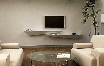 Mensola design porta TV a muro parete - legno laccato bianco opaco ...