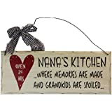 Grace Home Wooden Wall Plaque. 'Nana's Kitchen Where Memories are Made and Grandchildren are Spoiled'