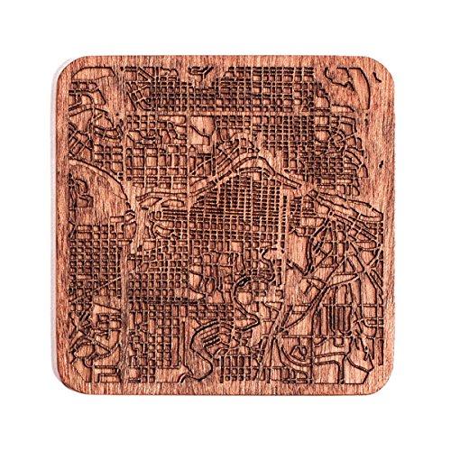 Calgary Map Coaster by O3 Design Studio, 1 piece, Sapele Wooden Coaster With City Map, Handmade, Multiple city ()