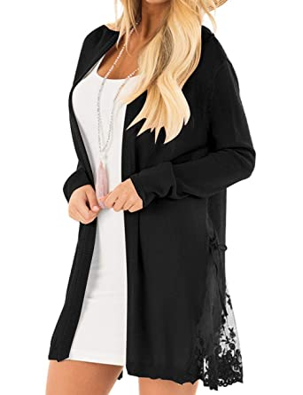 LookbookStore Women Long Open Front Lightweight Black Cardigan Sweater Soft  Crochet Lace Knit Outerwear Size S 496fb2ce0