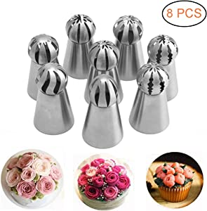 Russian Piping Tips 8 PCS, Youthful Stainless Steel Russian Piping Ball Tips Flower Frosting Icing Piping Nozzles Set Cake Decorating Tips Kit for DIY Baking Cake Decorating Supplies Kit (8 PCS)