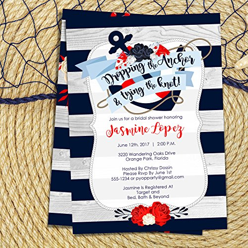 Anchor Bridal Shower Invitations | Nautical Shower Invite PRINTABLE -