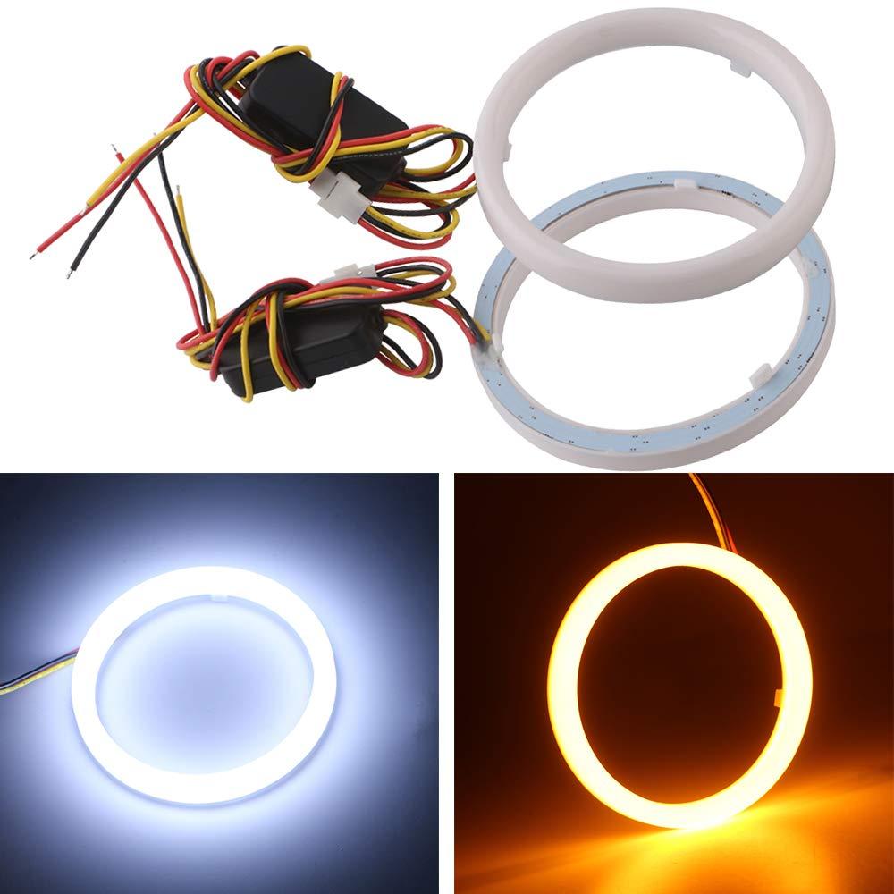 Qasim 1 pair of LED Angel Eyes Halo Rings 70MM 2.75/'/' White+Amber Switchback for Car Motorcycle Headlight DRL Fog Light 4014 84SMD DC12V