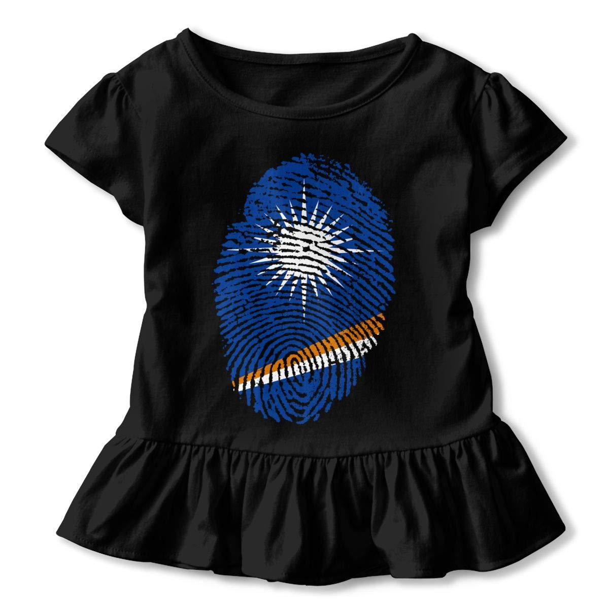 JVNSS Fingerprint Marshall Islands Shirt Printed Infant Girl Flounced T Shirts Cotton Tops for 2-6T Baby Girls