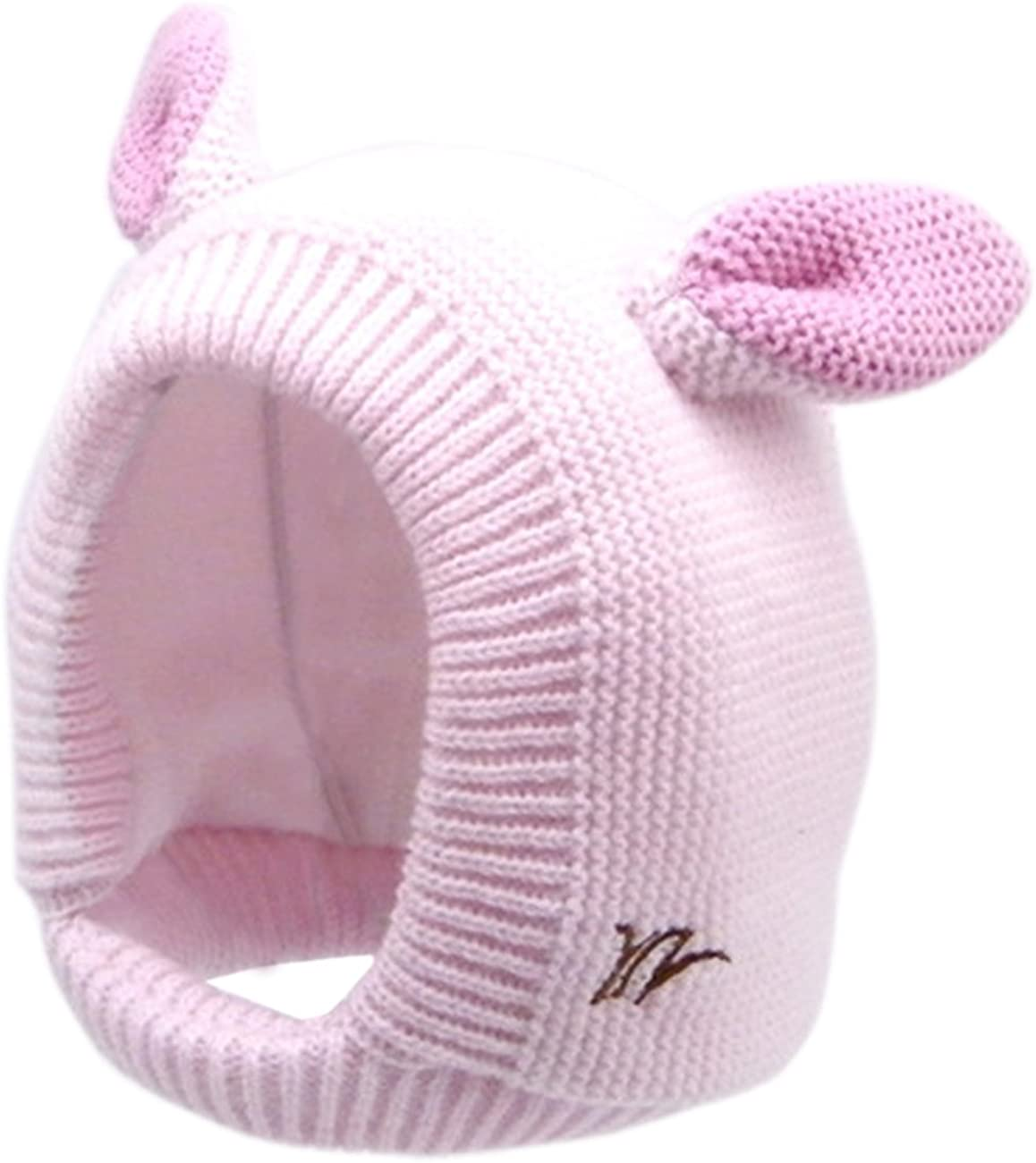 Sumolux Kids Warm Hood Beanies Hat Knitted Hippo Ears Animal Hats Plush Lined Coif for Winter 1-7T