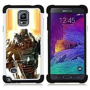 """Samsung Galaxy Note 4 IV / SM-N910 - 3 en 1 impreso colorido de Altas Prestaciones PC Funda chaqueta Negro cubierta gel silicona suave (Fall0out Soldado"""")"""