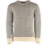 Classical Norwegian patterned crew neck sweater / jumper. Ecru-Navy. 100% New Wool. #12981 (LARGE)