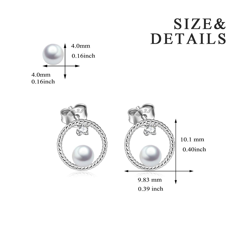 Circle Stud Earrings Sterling Silver Pearl Hoops Rope Circle Ear Studs for Women Girls (Circle Stud Earrings) by POPLYKE (Image #3)