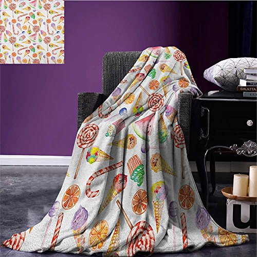 Feet Candy Bar (Colorful throw blanket Ice Cream Candy Cakes Lollipop Clementine Fruits Cute Birthday Celebration Pattern miracle blanket Multicolor size:59