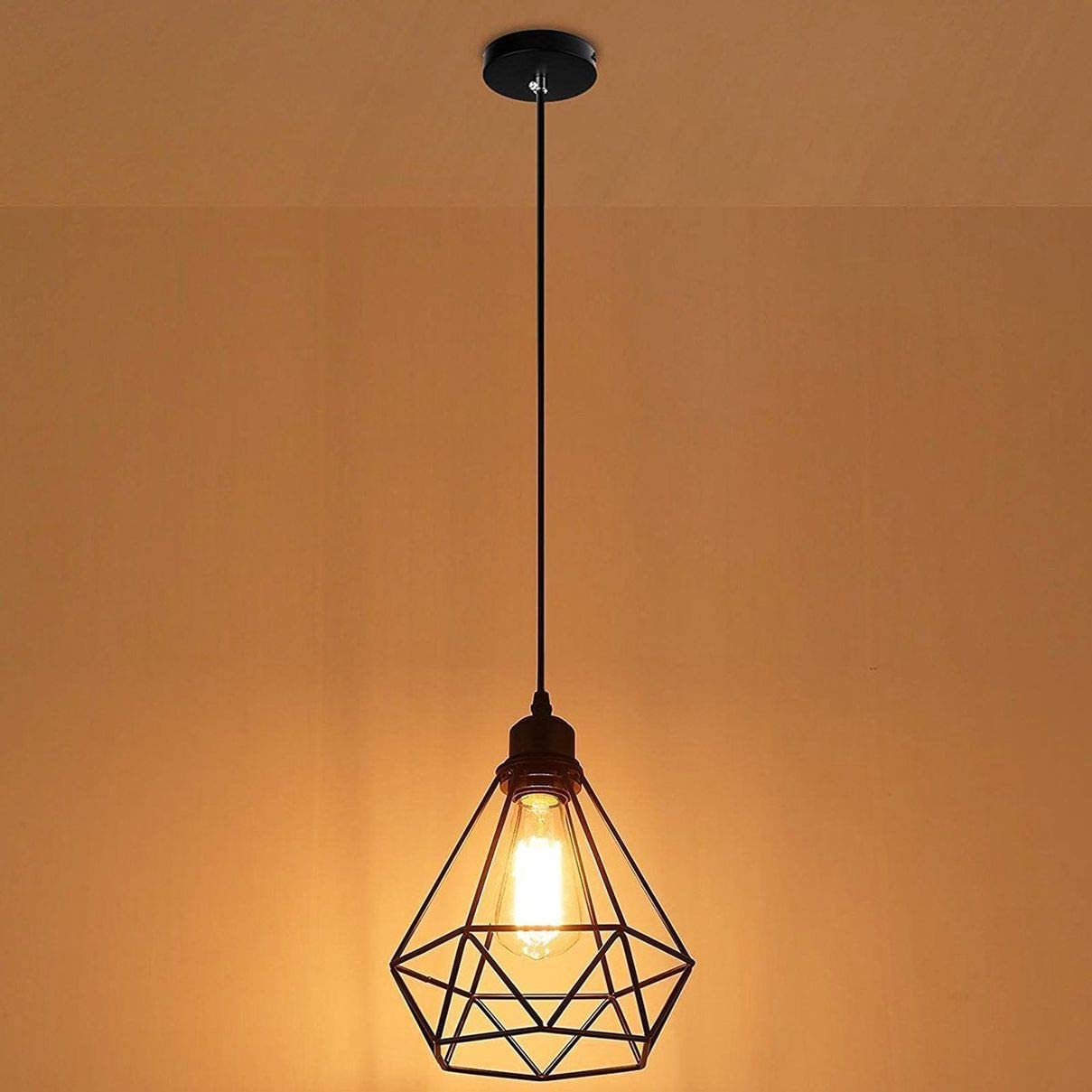 Tools Home Improvement Pendant Lights Motent Industrial Ecopower Lighting Antique Holders Iron Wire Diamonds Shape Open Style For Ceiling Fan Light Bulb Covers Pendant Lighting Fixture Wall Lamp Vintage Metal Bulb