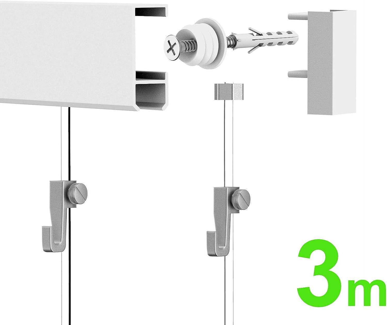 Leha Imágenes rieles galería rieles de Botones Juego Completo de 3 M (2 x 1,5 m), Color Blanco: Amazon.es: Hogar
