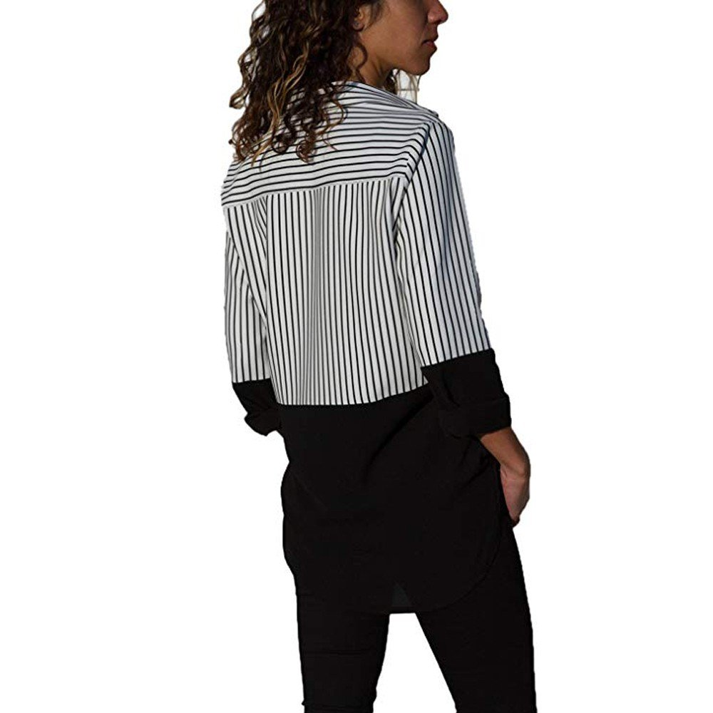 STORTO Womens Color Block Stripe Button T Shirts Casual Long Sleeve Tops Blouse