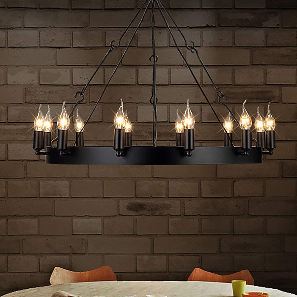 Ladiqi 12 Lights Wrought Iron Chandelier Light Industrial Pendant Light Vintage Island Lighting Hanging Ceiling Light Fixture by LAKIQ