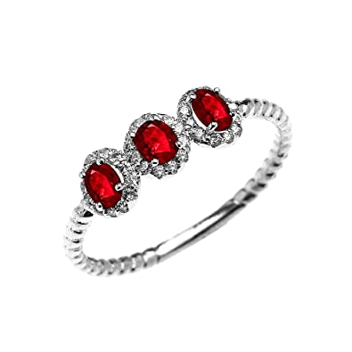 f5ea45427cbc6 Amazon.com: 14k White Gold Three Stone Oval Ruby and Diamond Halo ...