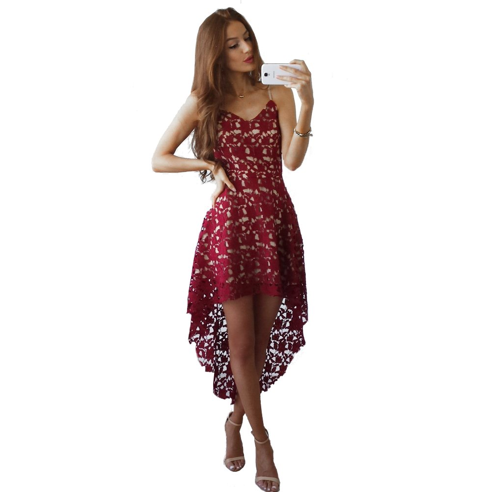 Fashion Story Women's V Neck Sleeveless Lace Hollow High Low Party Dress