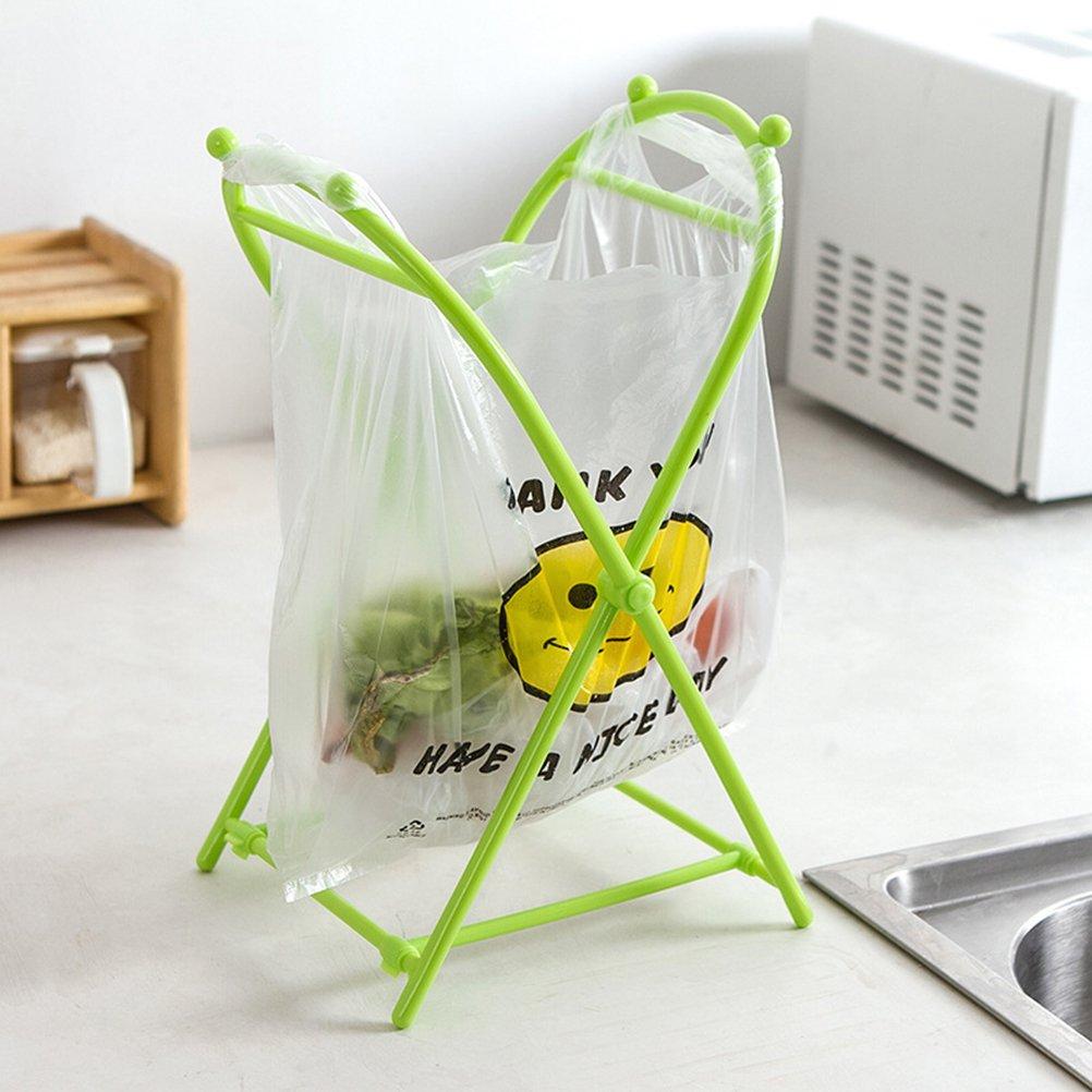 BESTONZON Supporto portatile del sacchetto della spazzatura Supporto pieghevole del sacchetto della spazzatura Colore casuale