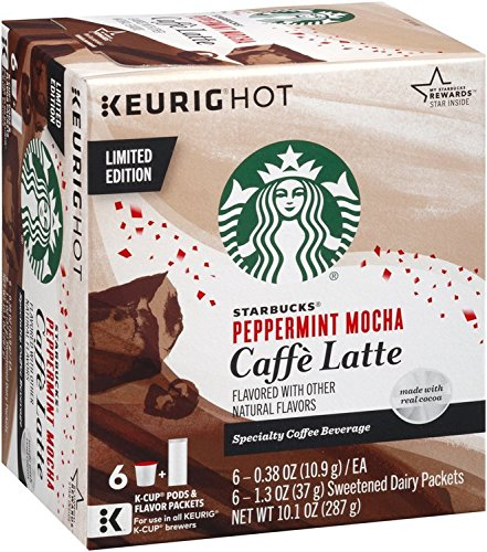 Starbucks Peppermint Mocha Caffe Latte K-Cup Pods (6 Count package, 10.1oz)