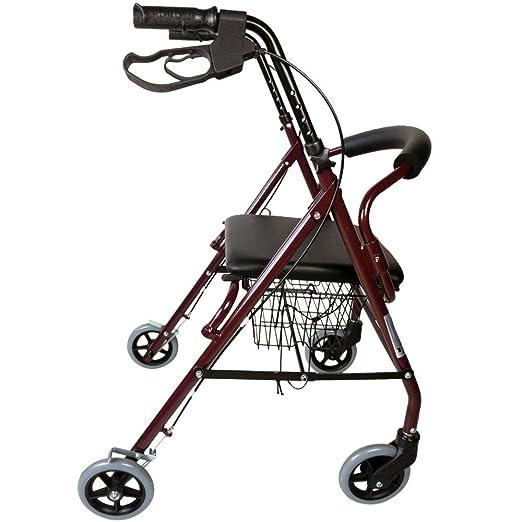 Mobiclinic Andador para Ancianos de 4 Ruedas | Aluminio Ultraligero | Plegable | con Frenos de Mano y Puños Ergonómicos | Incluye Cesta | Peso máximo ...