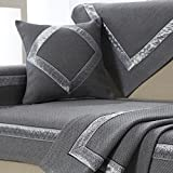 Le fu Yan Sectional Sofa slipcovers,Sofa Towel Covers,Sofa Protector Cotton Quilted Anti Slip Decorative Sofa Covers Throw Sets for Living Room Cushion Cover-Dark Gray 70x240cm(28x94inch)