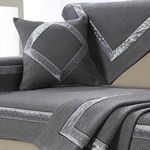 Le fu Yan Sectional Sofa slipcovers,Sofa Towel Covers,Sofa Protector Cotton Quilted Anti Slip Decorative Sofa Covers Throw Sets for Living Room Cushion Cover-Dark Gray 70x240cm(28x94inch) by Le fu Yan