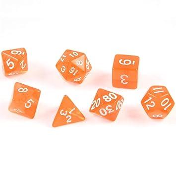 shibby 7 Dados poliédricos en Transparente Orange para Juegos de ...