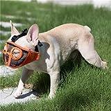 JYHY Short Snout Dog Muzzles- Adjustable Breathable Mesh Bulldog Muzzle for Biting Chewing Barking Training Dog Mask,Orange(Eyehole) M