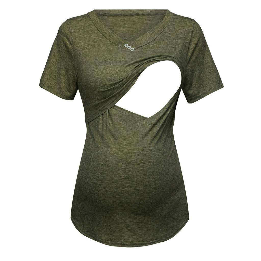 Pregnancy Shirts Sayings,Women's Short Sleeve Pure Colour Tops Breastfeeding Nusring Maternity Clothes,Novelty Clothing,Green,S