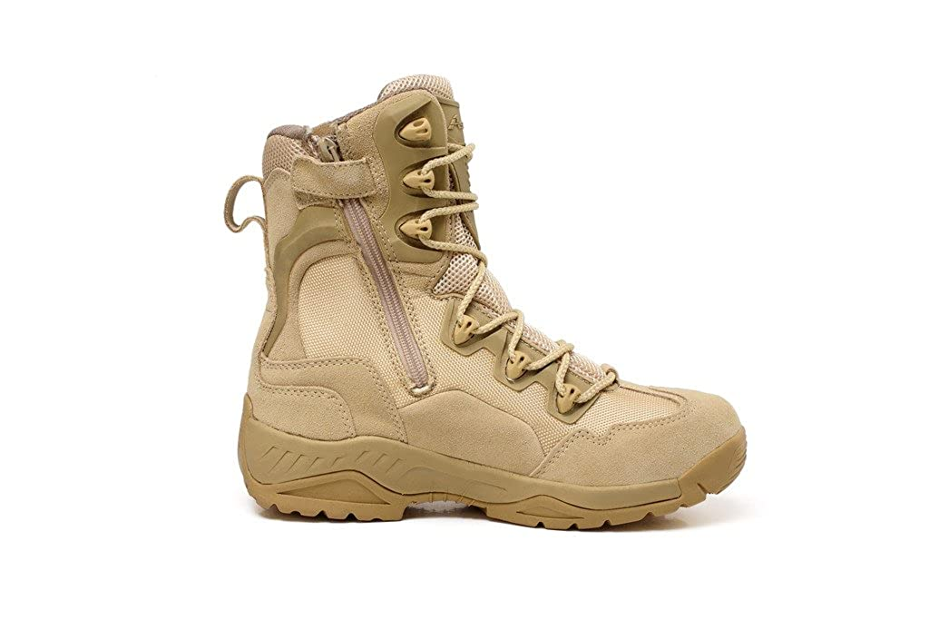 46cd76716fd OMRICO Men's 8 Inch Military and Tactical Boot With Side Zipper,Tan,8.5  D(M) US
