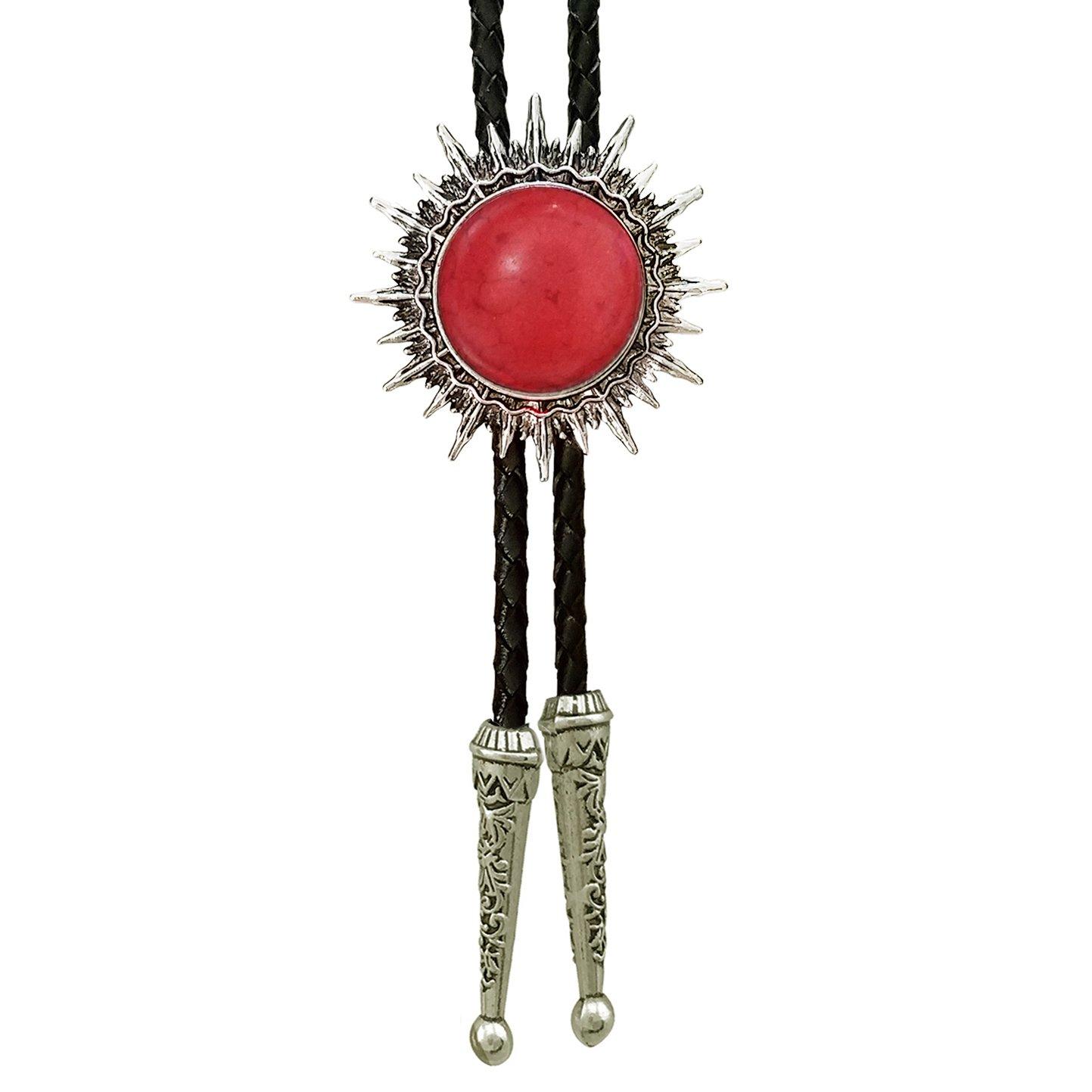 SELOVO Silver Tone Red Stone Bolo Tie Genunie Leather Mens Womens