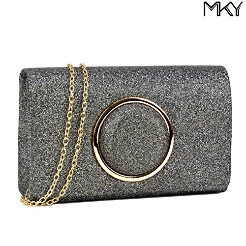 Women Glitter Sequin Clutch Purse Evening Bag Shiny Party Handbag Grey (Pouch Evening Metallic Bag)