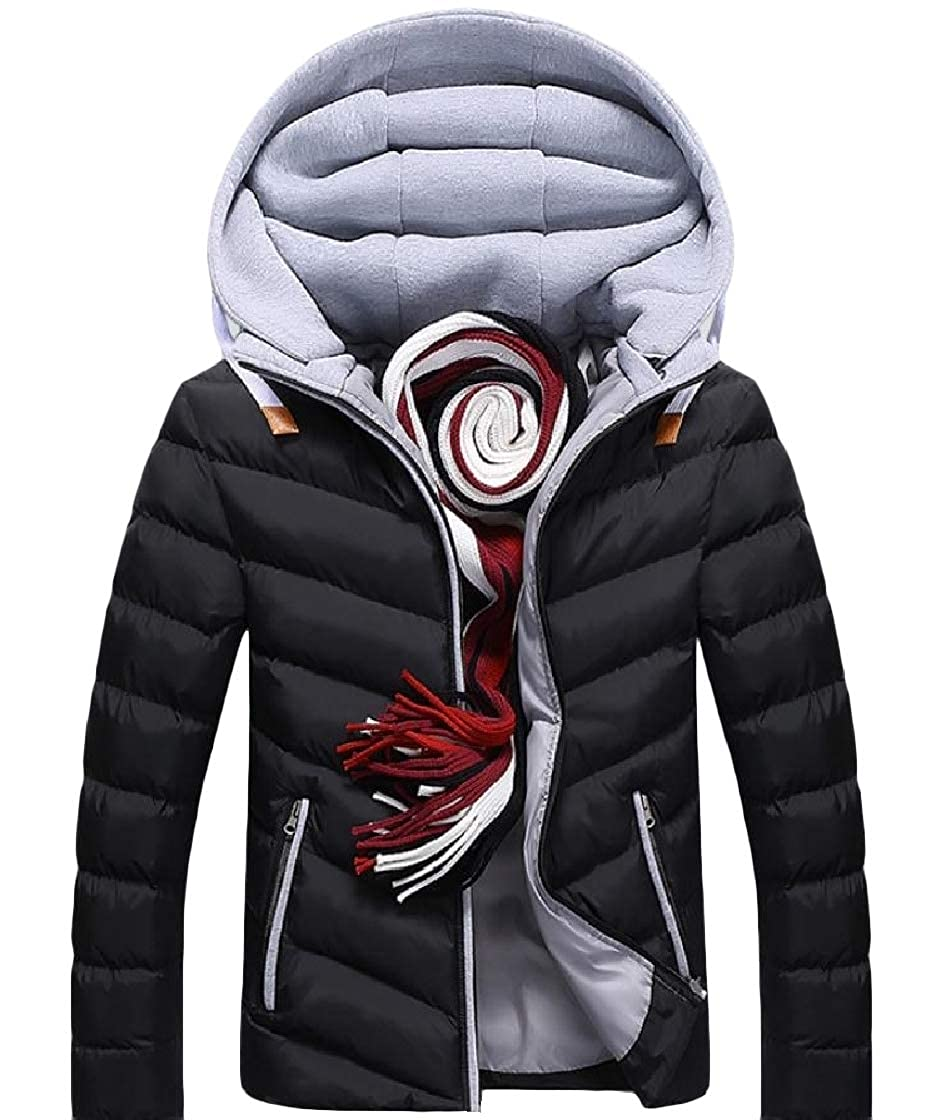 YUNY Mens Warm Thick Hoodie Pocket Zipper Long-Sleeve Patched Down Jackets Pattern1 XL