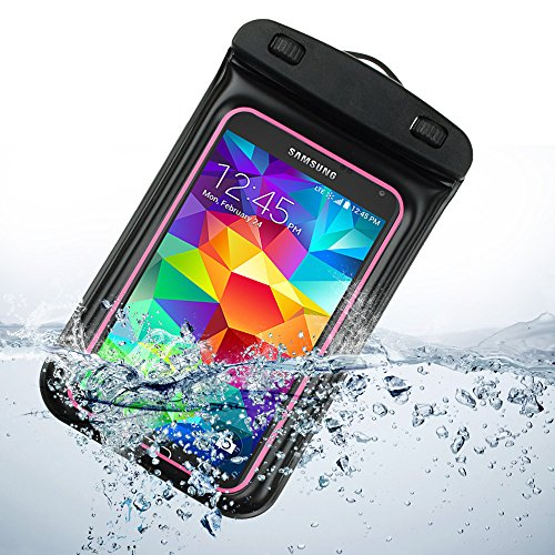 Waterproof Pouch Dry Bag for Samsung Galaxy S5 S 5 SV / S5 ACTIVE 2014 smartphone (Rose) by ECCRIS