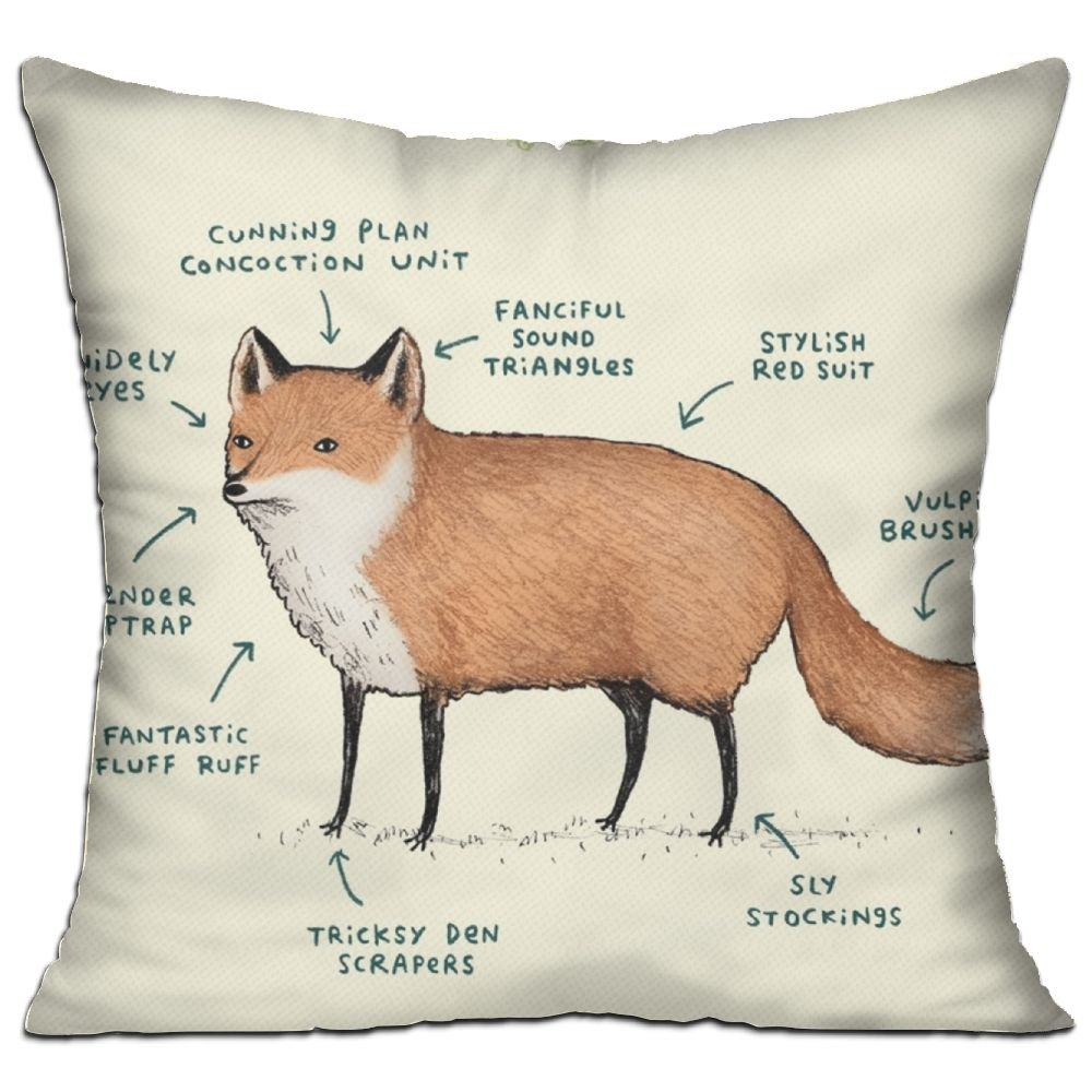 Throw Pillow Anatomy Of A Fox - Cushion With Filling Insert And ...