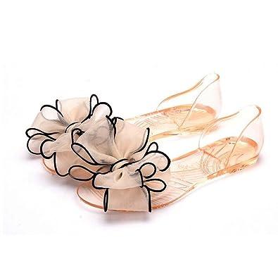2f8a9ba5d12 Angelliu Women Bohemian Flower Decoration Peep Toe Summer Beach Clear Jelly  Sandals Flats Apricot