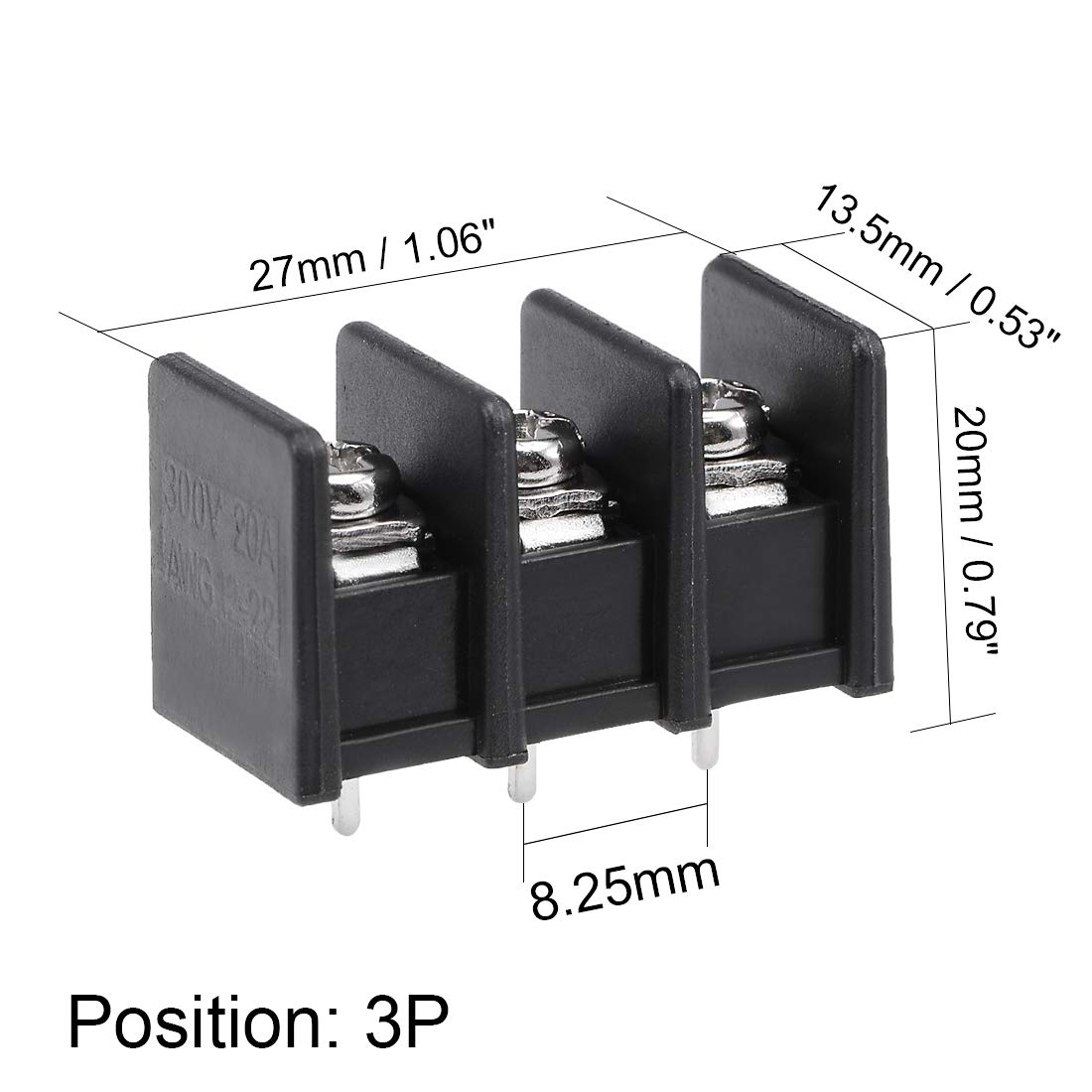 uxcell 5Pcs AC 300V 25A 7.62mm Pitch 3P Flat Angle Needle Seat Fence Type Terminal